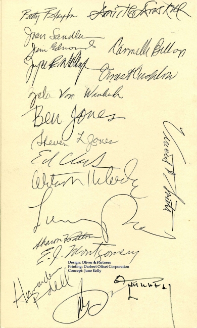 "Back panel of ""A Celebration of the Life of Romare H. Bearden,"" signed funeral pamphlet (April 6, 1988): Box 3, Folder 6. David C. Driskell Papers: Artists and Individuals, David C. Driskell Center Archive."
