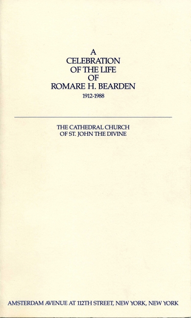 "Front panel of ""A Celebration of the Life of Romare H. Bearden,"" signed funeral pamphlet (April 6, 1988): Box 3, Folder 6. David C. Driskell Papers: Artists and Individuals, David C. Driskell Center Archive."