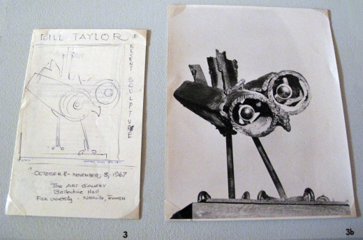 "Sketch of the exhibition catalogue ""Bill Taylor: Recent Sculpture"" and accompanying photograph of ""Owl"" sculpture (c. 1967): Box 46, Folder T-98-9. David C. Driskell Papers: Artists & Individuals, David C. Driskell Center Archive."