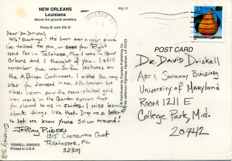 Postcard from Jefferson Pinder (1995): Box 36, Folder T-139-27. David C. Driskell Papers: Artists and Individuals, David C. Driskell Center Archive.