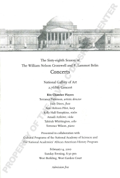 Front cover of program for Ritz Chamber Players at the National Gallery of Art (February 14, 2010): David C. Driskell Papers: African American Art and Diaspora: Ephemera, David C. Driskell Center Archive.