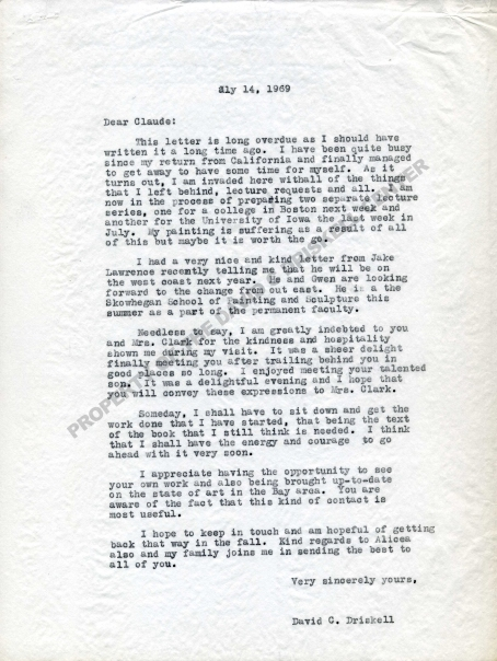 Letter from David C. Driskell to Claude Clark (July 14, 1969): Box 7, Folder 11. David C. Driskell Papers: Artists and Individuals, David C. Driskell Center Archive.