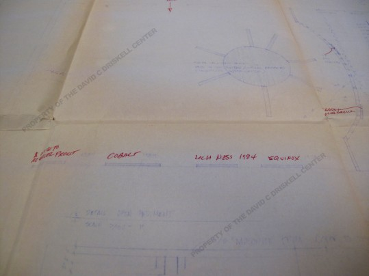 "Detail of blueprint for ""Contemporary Visual Expressions"" exhibition  showing sculpture installation plan for Martha Jackson-Jarvis and planned locations for some of William T. William's artwork (March 4, 1987): Box 2, Folder 12. Driskell Papers: Exhibitions - Curated by David Driskell, David C. Driskell Center Archive."