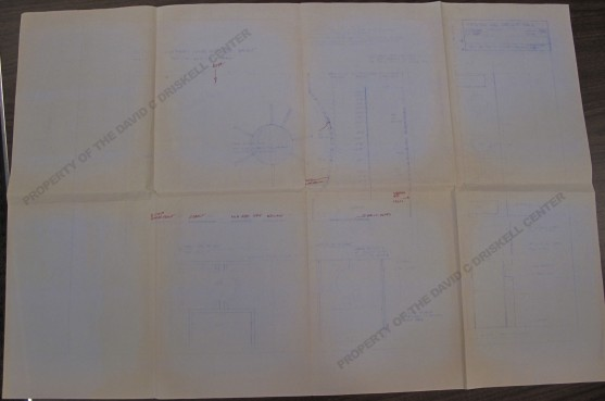 "Photo of blueprint for ""Contemporary Visual Expressions"" exhibition (March 4, 1987): Box 2, Folder 12. Driskell Papers: Exhibitions - Curated by David Driskell, David C. Driskell Center Archive."